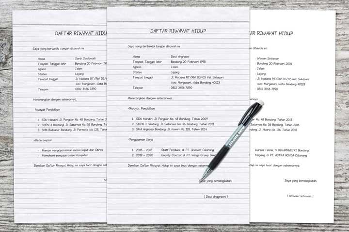 daftar riwayat hidup tulis tangan