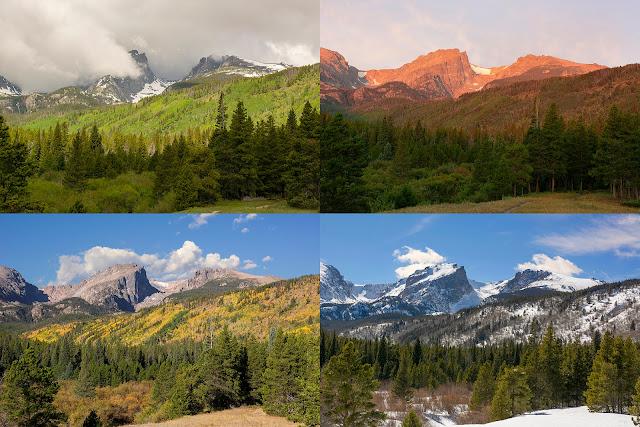 Rocky Mountain National Park Colordo Hallett Flattop Mountain Glacier Gorge Estes Park 4 season fall summer spring winter