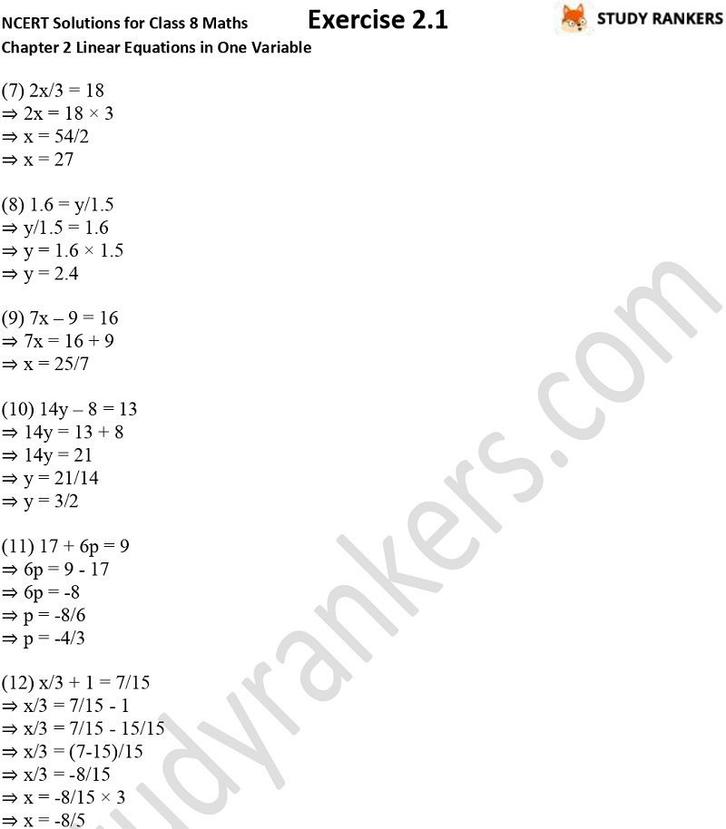 NCERT Solutions for Class 8 Maths Chapter 2 Linear Equations in One Variable Exercise 2.1 Part 2