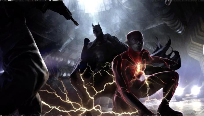 Imagem: arte conceitual do Flash, interpretado por Ezra Miller, em posição de luta ao lado do Batman do Michael Keaton, com o símbolo do Batman amarelo no peito, em posição de luta.