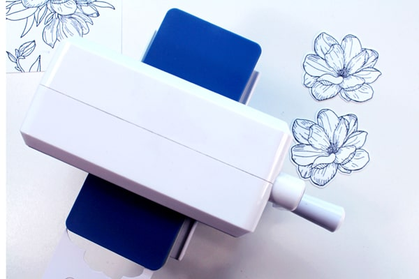 Use a die cutting machine to cut out flower stamp with matching die cut.