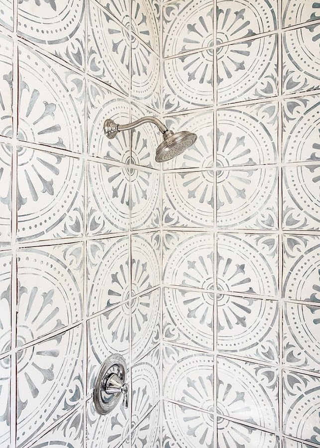 patterned cement tile in shower