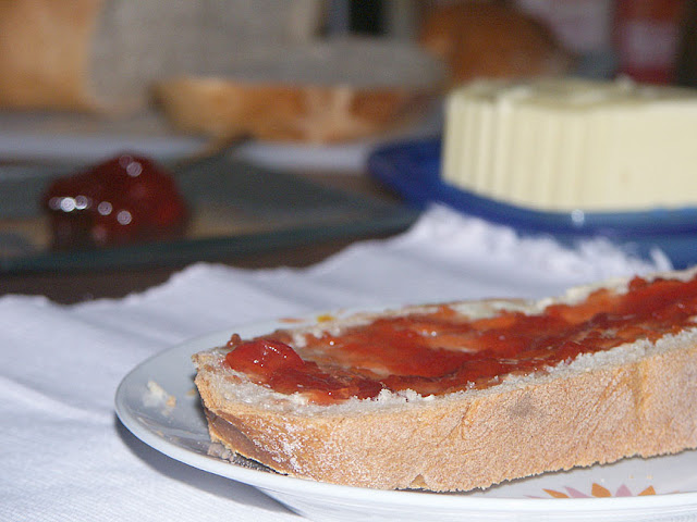 Homemade cherry jam for breakfast. Photo by Loire Valley Time Travel.