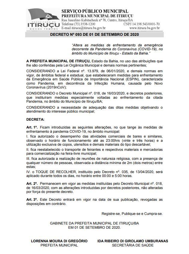 DECRETO Nº 093 DE 01 DE SETEMBRO DE 2020
