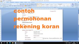 Contoh Surat Permohonan Rekening Koran Bank