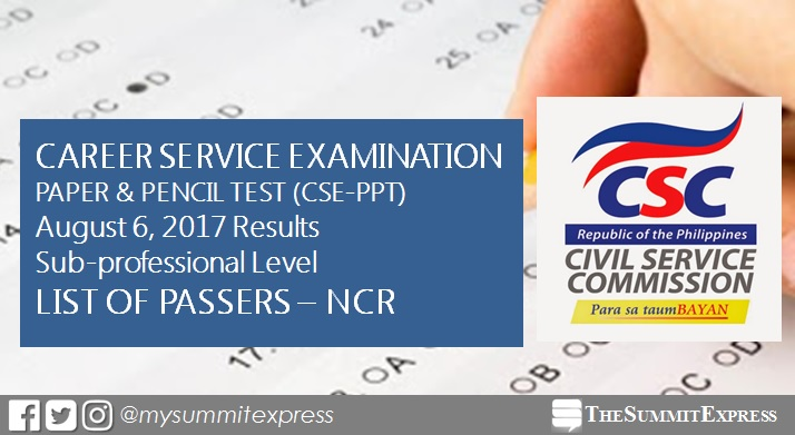 NCR Passers: August 2017 Civil service exam results CSE-PPT (Sub-Professional)