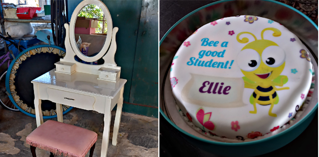 Dressing table and a cake