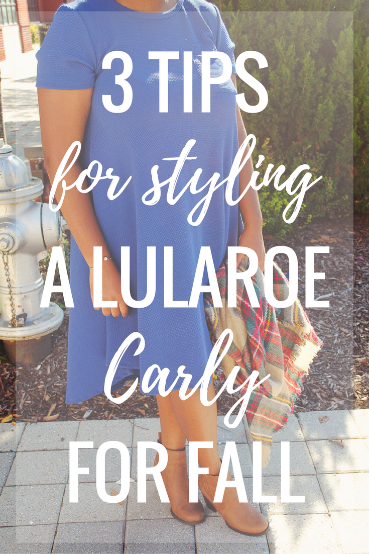 "I was fortunate enough to have a LulaRoe mother/daughter team, Shannon and Meg, send me a couple of pieces to style for you guys. I have to admit I thought LulaRoe only made leggings, but they have so many amazing pieces for all types of women. I've already worn this beautiful 'Carly' dress twice and I'm itching to buy a couple to style in different ways. The Carly is described as ""a cute dress that lets us breathe and move easier - a swing dress that flatters the best parts of a feminine physique while being flowy and breezy everywhere else. The Carly comes in a wide array of fabrics, prints, and washes and has some amazing features such as a patch pocket, a flattering high-low hemline, and cool open sleeves."" Y'all this dress is simply amazing! It's so soft and comfortable and can easily be layered for chilly fall weather or worn solo on warmer days. Today on the blog I'm sharing how I styled this dress for fall and giving you guys a few tips on how to make this dress work for any fall day!"