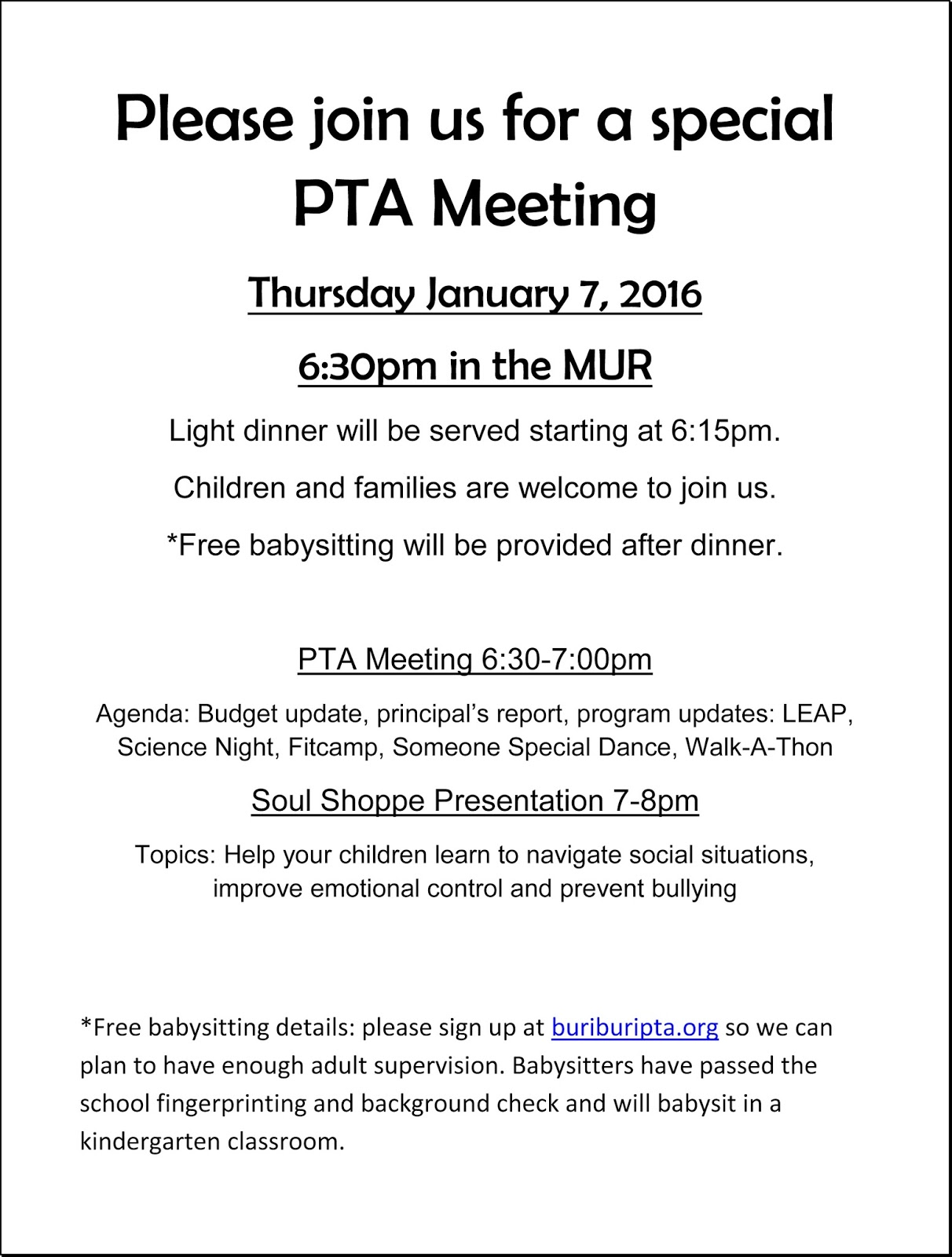 Buri Buri PTA - Better Together!: PTA Meeting & Soul Shoppe