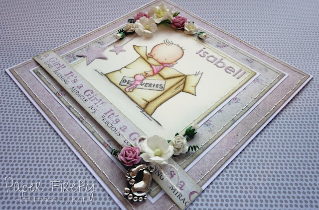 Shabby chic baby girl card (image from LOTV)