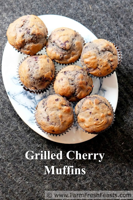a portrait image of a plate of grilled cherry muffins with title