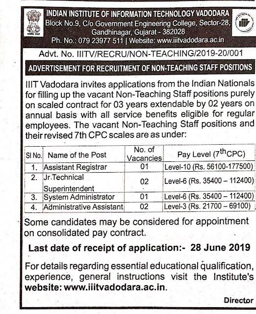 IIIT Vadodara Recruitment 2019 | Various Posts: