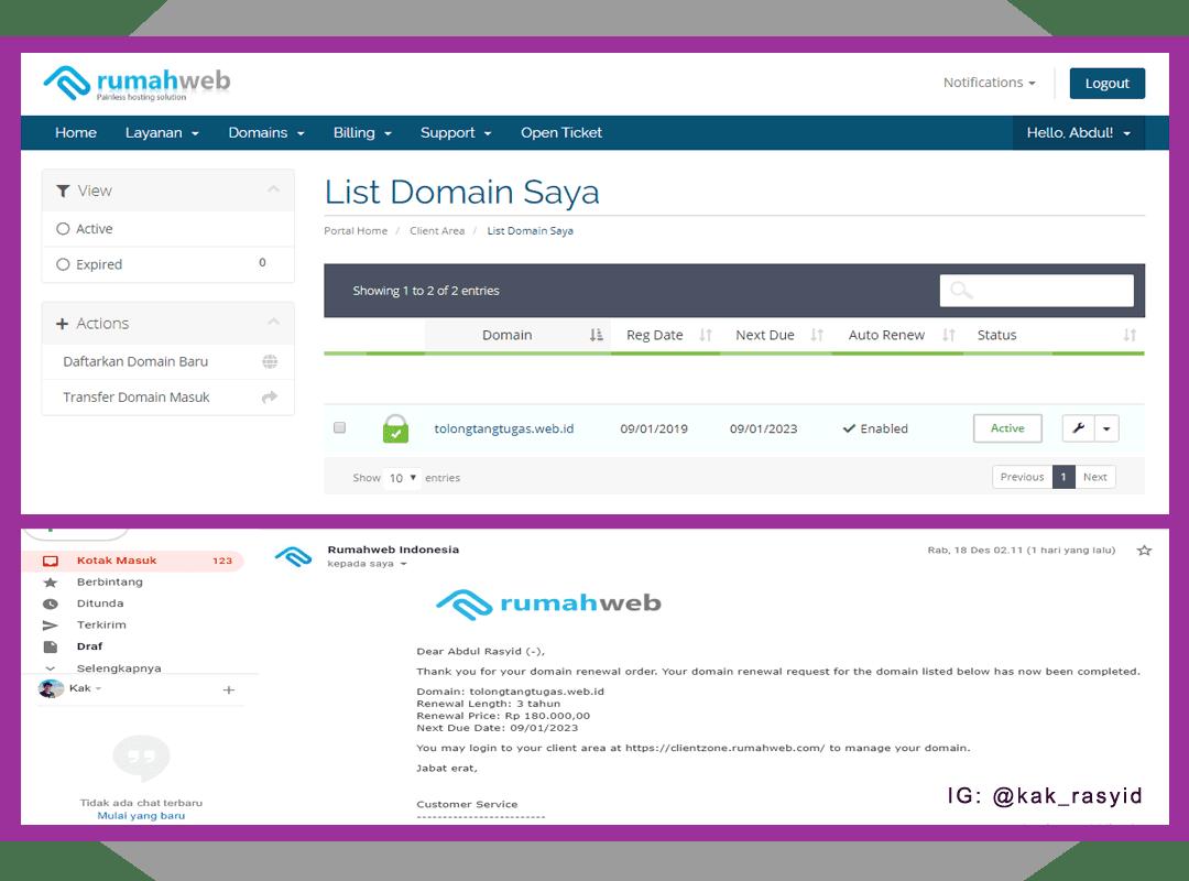 Renewal Domain di Rumahweb