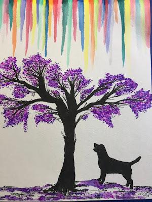 Drawing of Jacaranda tree with dog, copyright protected
