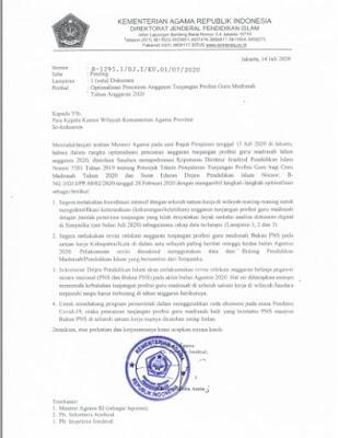 Surat Edaran Optimalisasi Pencairan Anggaran Tunjangan Profesi Guru Madrasah Tahun Anggaran 2020