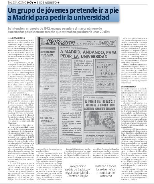 Marcha andando a Madrid, Guadalupe, Badajoz Universidad de Extremadura