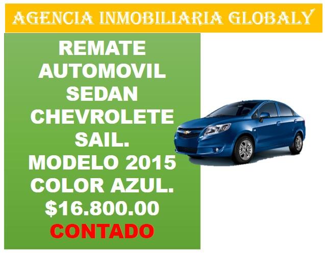 REMATE AUTOMÓVIL CHEROLET SAIL MODELO 2015