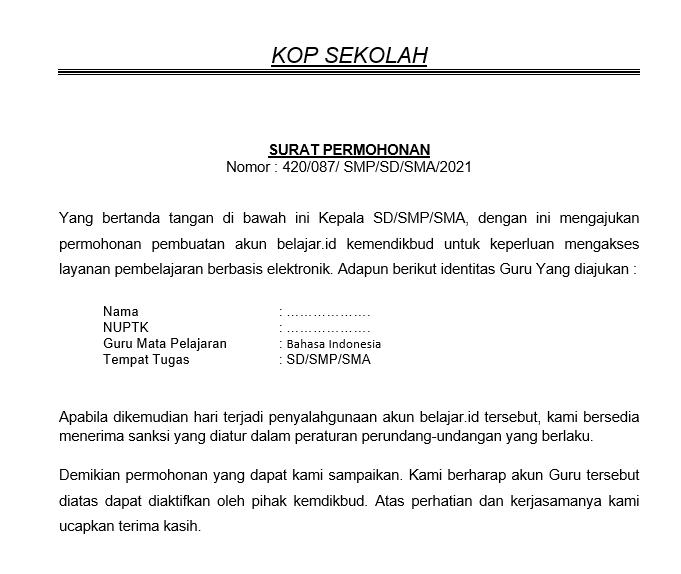 gambar surat permohonan akun belajar.id