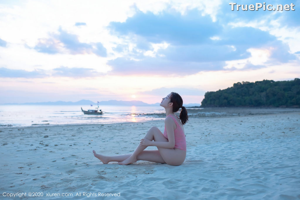 Image XIUREN No.2340 - Chinese Model Shen Mengyao (沈梦瑶) - Sexy Pink Monokini on the Beach - TruePic.net - Picture-1