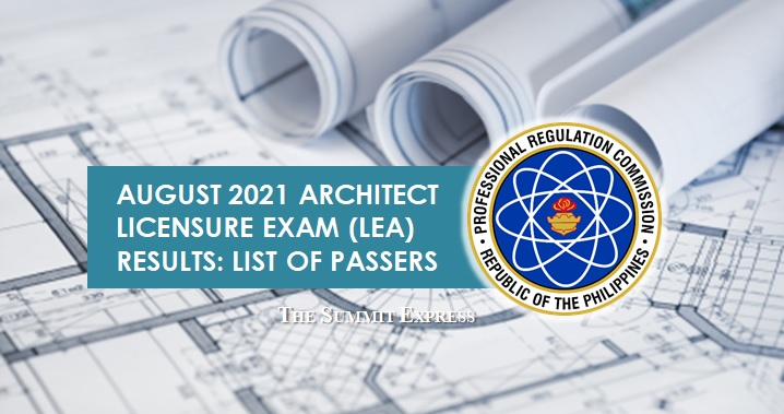 LEA RESULTS: August 2021 Architect board exam list of passers