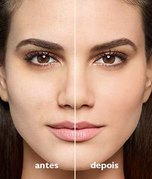 Antes e depois do Blur Efeito Instantâneo