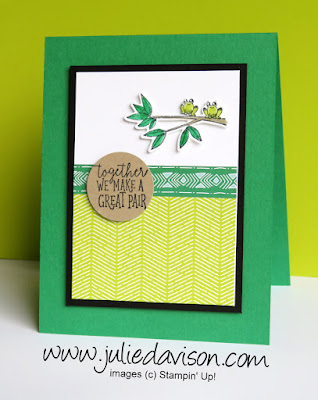 Stampin' Up! Animal Outing ~ Great Pair Frog Card ~ 2018-2019 Annual Catalog ~ www.juliedavison.com