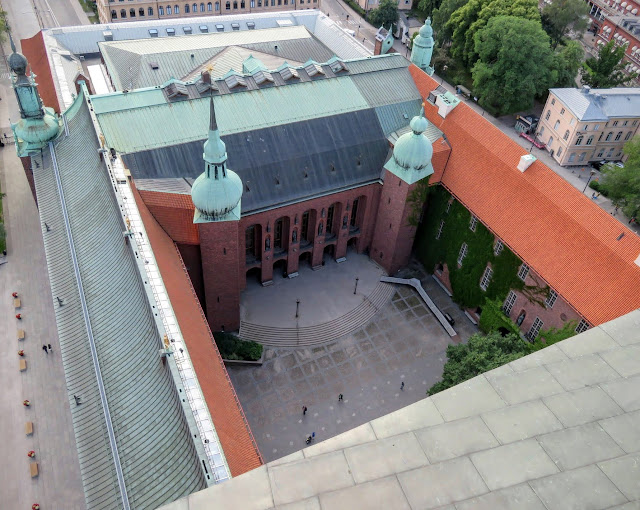 View of the courtyard at Stockholm City Hall from above