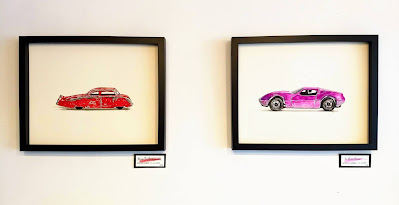 watercolor paintings of metal toy cars