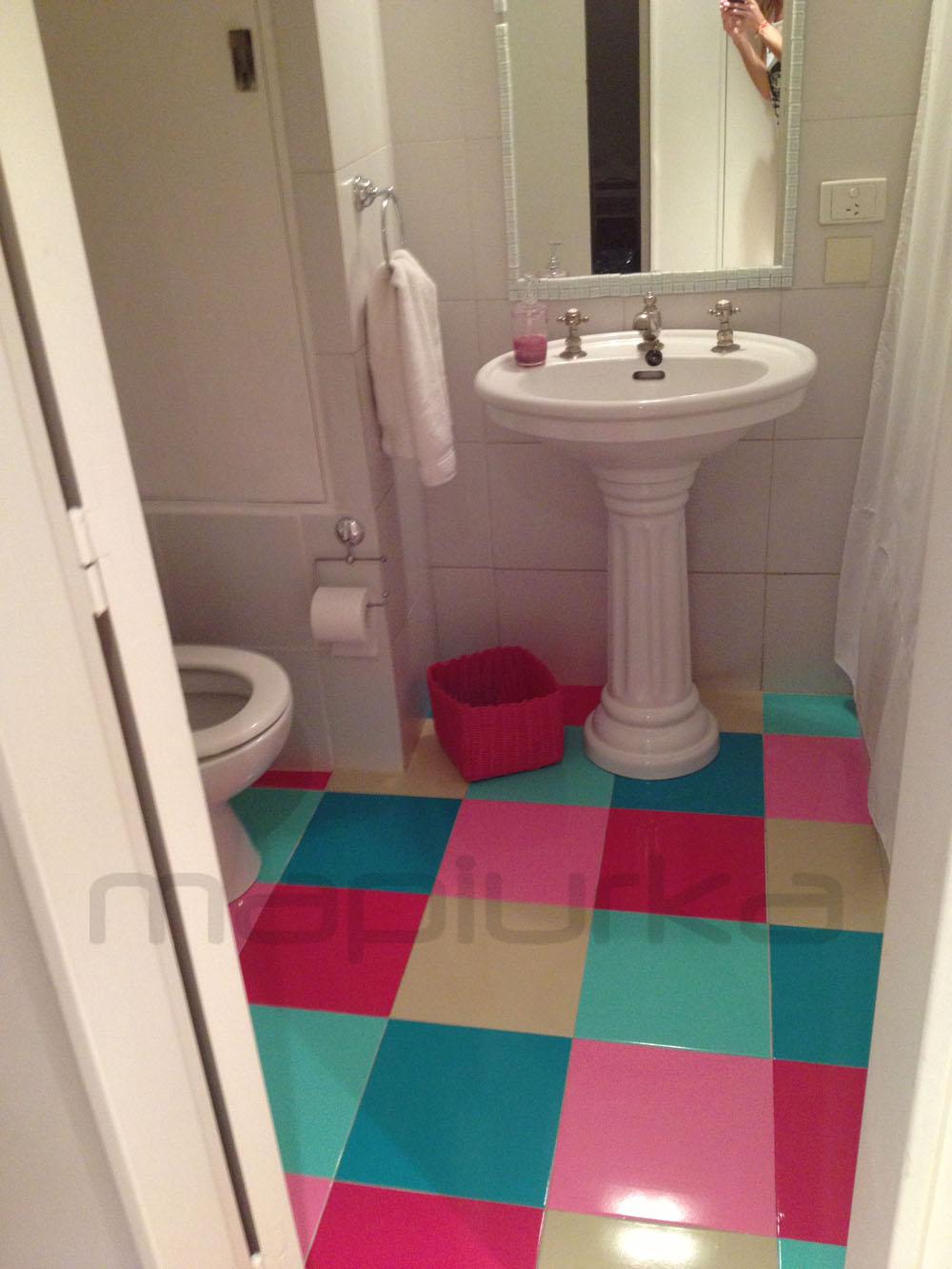 Mapiurka adhesivos decorativos ba piso en vinilo en for Adhesivos para azulejos de bano