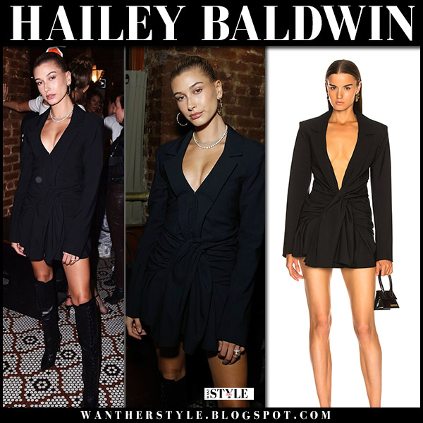 Hailey Baldwin in black tie waist mini dress jacquemus and black boots model style june 7