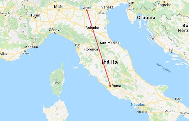Mapa da viagem de Roma a Verona