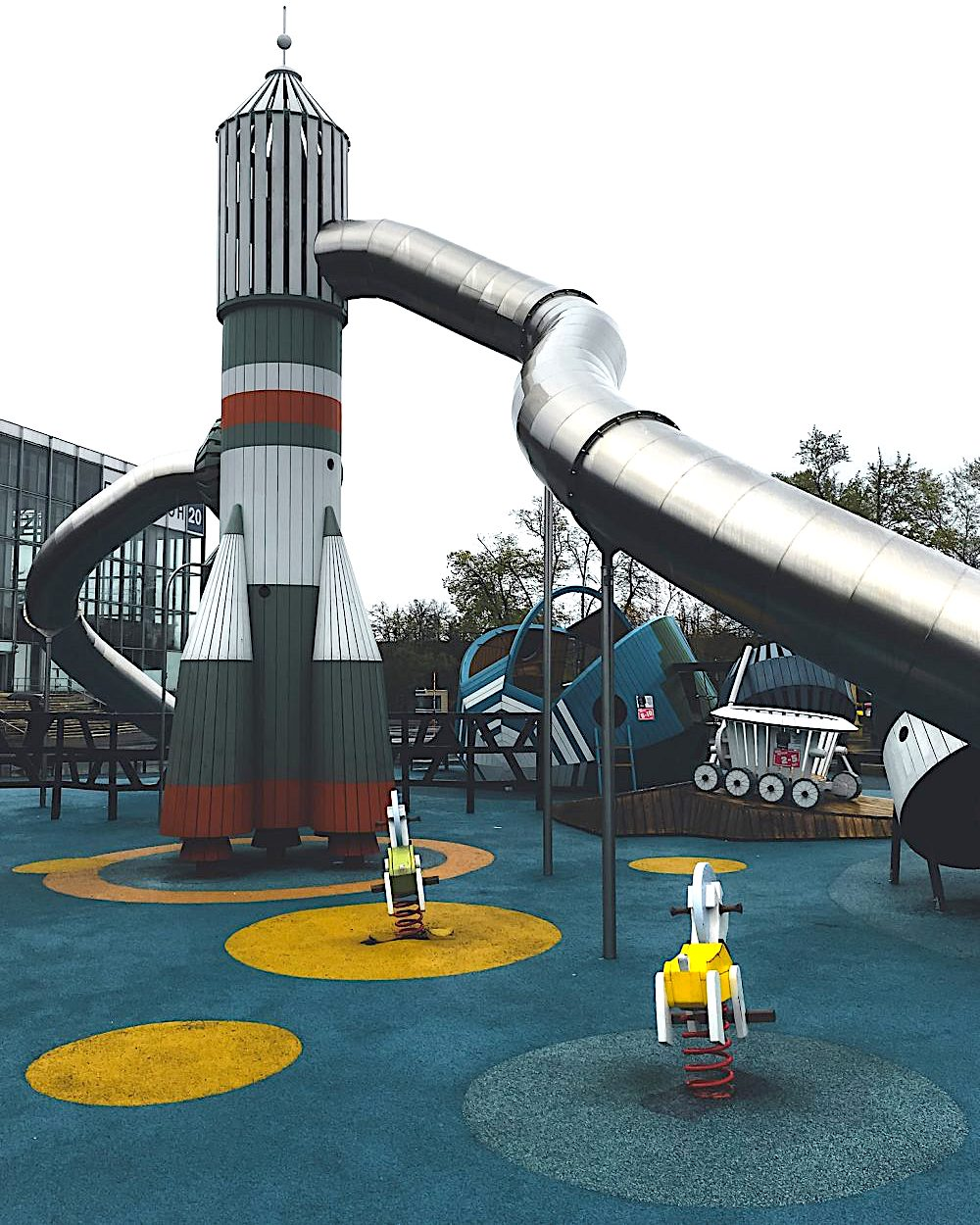 a 2000s playground in Russia with a space rocket theme