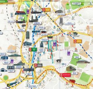 Mapa turístico de Kuala Lumpur.