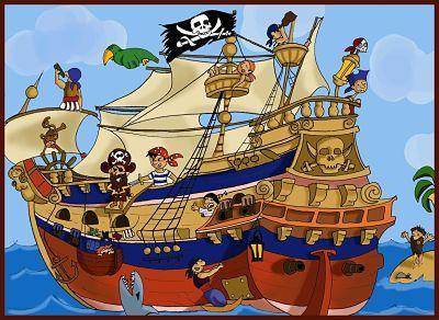 Caricatura de barco pirata en alta mar, con varios tripulantes piratas a bordo