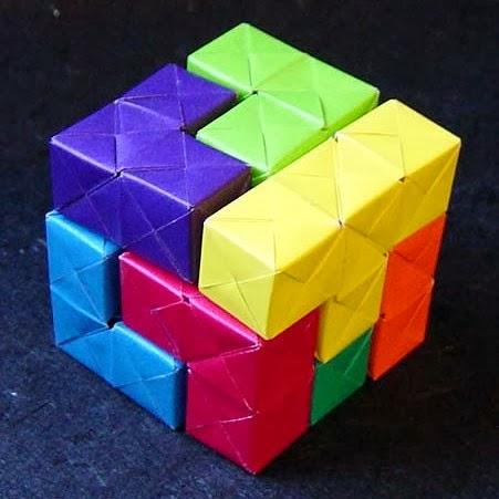 origami soma cube puzzle