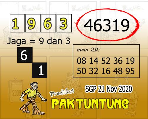 Pak Tuntung SGP Sabtu 21 November 2020
