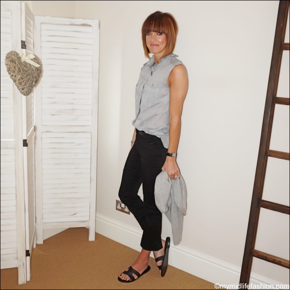 my midlife fashion, ancient greek Desmond leather sandals, marks and Spencer pure cashmere round neck cardigan, j crew billie Demi boot cut jeans, Isabel Marant sleeveless cotton blouse