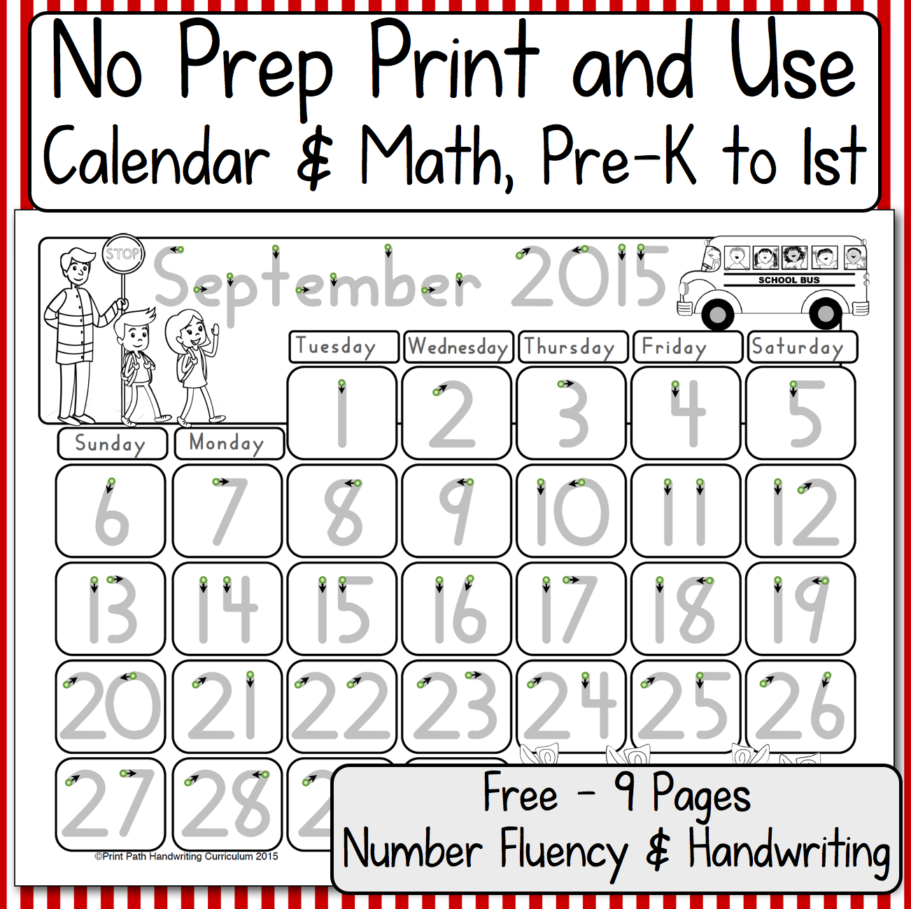 Using Calendars For Number Fluency And Handwriting Skills