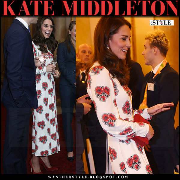 Kate Middleton in white red flower print silk alexander mcqueen dress and red suede pumps gianvito rossi what she wore