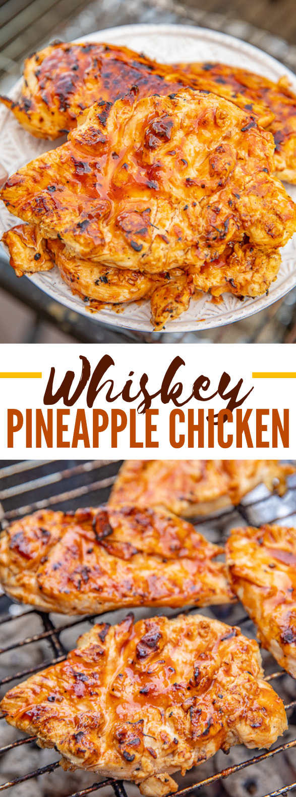 WHISKEY PINEAPPLE CHICKEN #dinner #grilled
