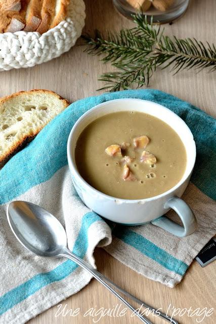 Soupe-poireaux-marrons- gingembre-lardon