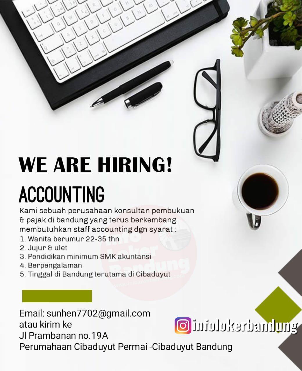 Lowongan Kerja Accounting Perusahaan Konsultan Pembukuan & Pajak Bandung Agustus 2019