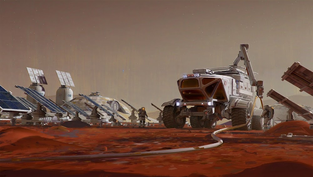 Mars base by Maciej Rebisz - concept art for Space Company Simulator