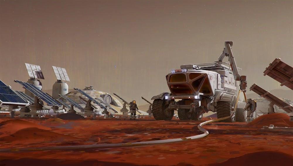 Mars base by Maciej Rebisz - concept art for Space Company Simulator