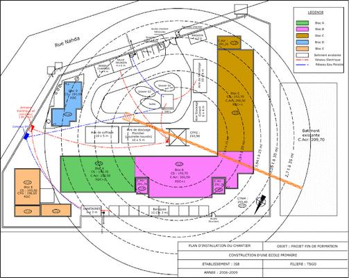 Plan d'Installation de Chantier d'une Ecole (DWG)
