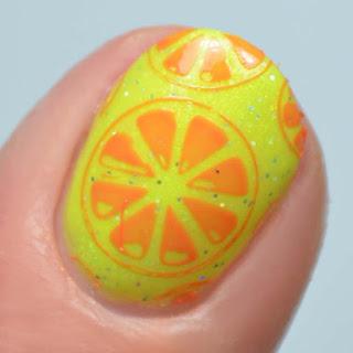 orange slice stamped nail art