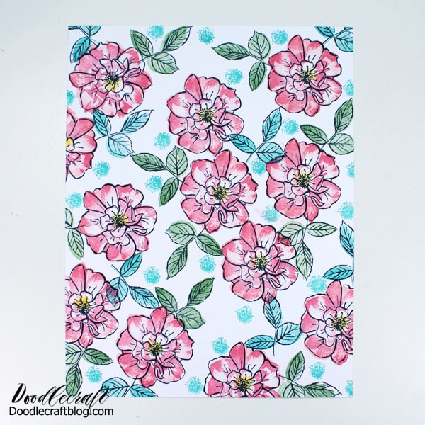 Use rubber stamps to create a stunning floral filled page perfect for handmade cards