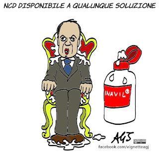 ncd, consultazioni, crisi di governo, stabilità, poltrone, vignetta, satira