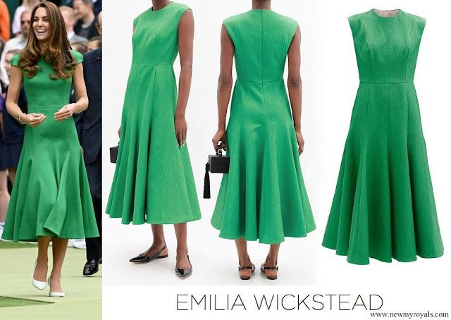 Kate Middleton wore Emilia Wickstead Green Denver Cloqué Midi Dress