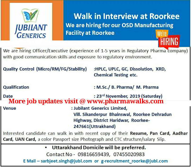 Jubilant Generics walk-in interview for Quality Control on 23rd Nov' 2019